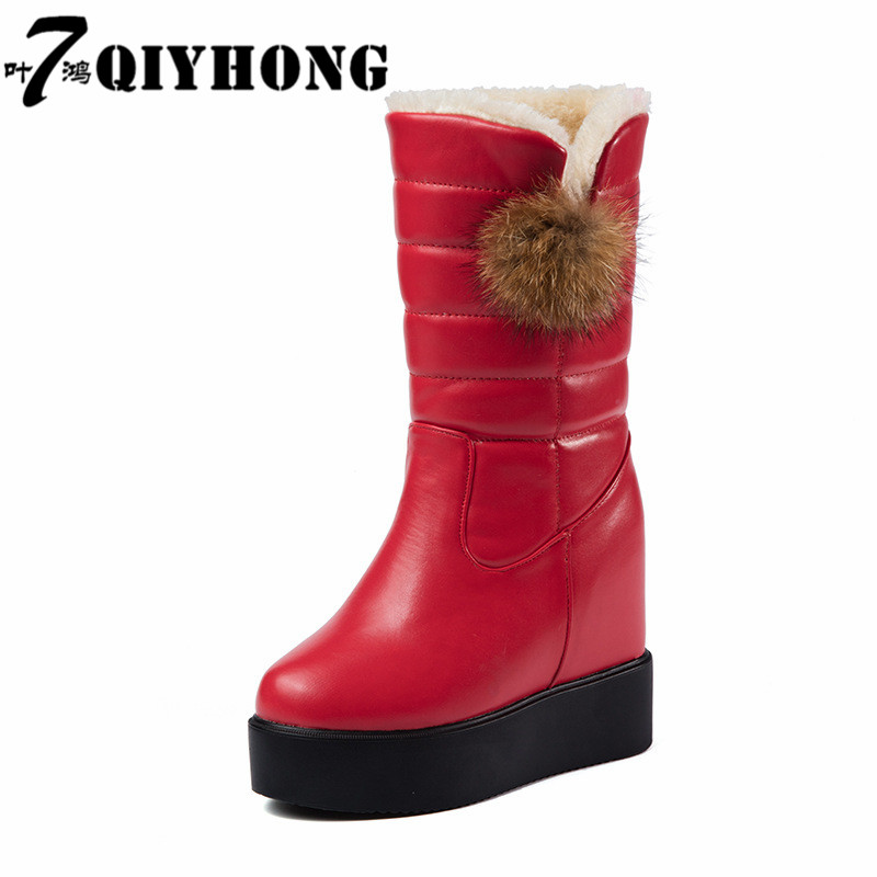 QIYHONG  SIZE 35-40 Ladies snow boots Flat shoes  heels slip on women winter boots fur inside mid calf boots sweet shoes<br>