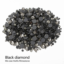 Hotfix Rhinestones Black diamond Stone Mixsize SS6/10/16/20/30 2000pcs/lot  for DIY Rhinestone motif free shipping