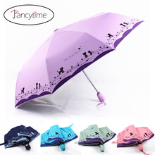 Automatic Folding Umbrellas Flowers and Cat Umbrella Rain Women Sunshade Windproof Sun Rain Lady Female Umbrellas Parasol(China)
