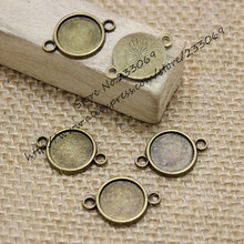 50pcs15*22mm (Fit 12mm ) Antique Bronze Alloy Round Cabochon Settings Jewelry Connectors Jewelry Blanks Jewelry Findings T0108