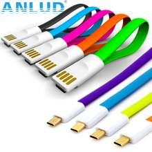100pcs/lot New Flat Magnet Noddle Cable Charger 22cm Sync Data Micro USB Cable For Samsung Android Interface mobile phone