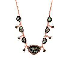 Fashion Ladies Summer Colorful Imitation Gemstone Necklace Bohemian Geometric Resin Charm Necklace