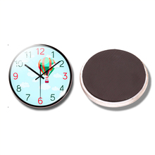 Hot Air Balloon 30 MM Fridge Magnet Clock Watch Fly In Sky Glass Dome Magnetic Refrigerator Stickers Note Holder Home Decoration