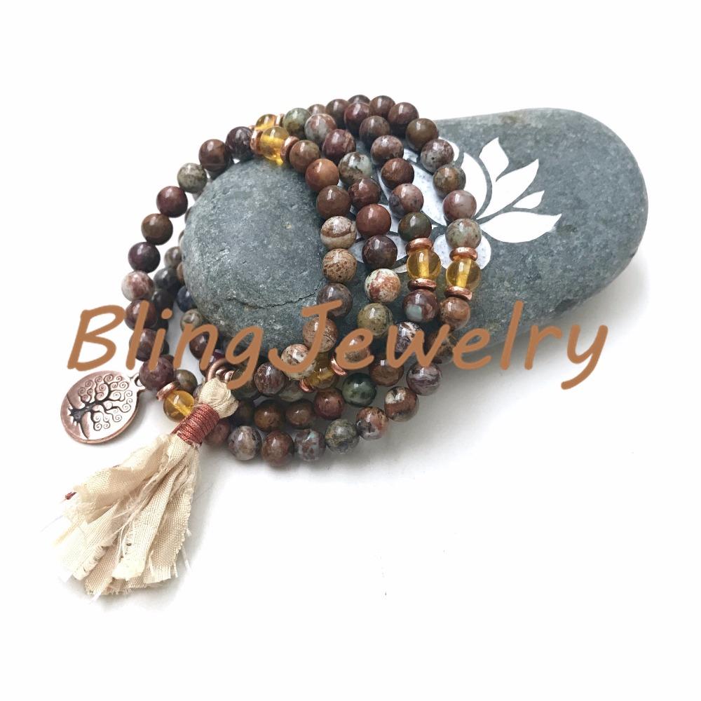 N17082544 Stretch Mala Beads, Brown & Green African Opal Mala Beads Mala To Wrap Around WristSari Silk Tassel (3)