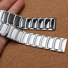 Ceramic white watchbands 20mm 22mm Strap Straight End Solid Links watch accessories for Wrist watch BRACELETS promotion New 2017(China)