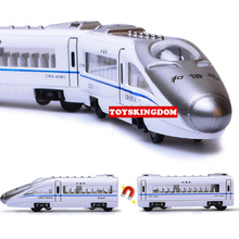 1:300 scale simulation diecast metal harmonious Bullet train Magnetic connection model alloy pull back toy 4 carriage decoration