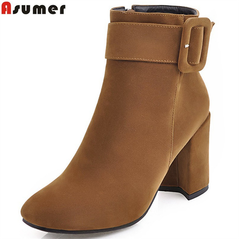 ASUMER 2018 autumn winter women boots fashion flock squaretoe zipper black beige gray ladies boots buckle ankle boots big size<br>