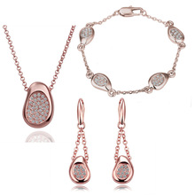 2016 newest Shenzhen jewelry new jewellery rose gold set auger pea sets spot wholesale and sale N:45+5CM B:20CM