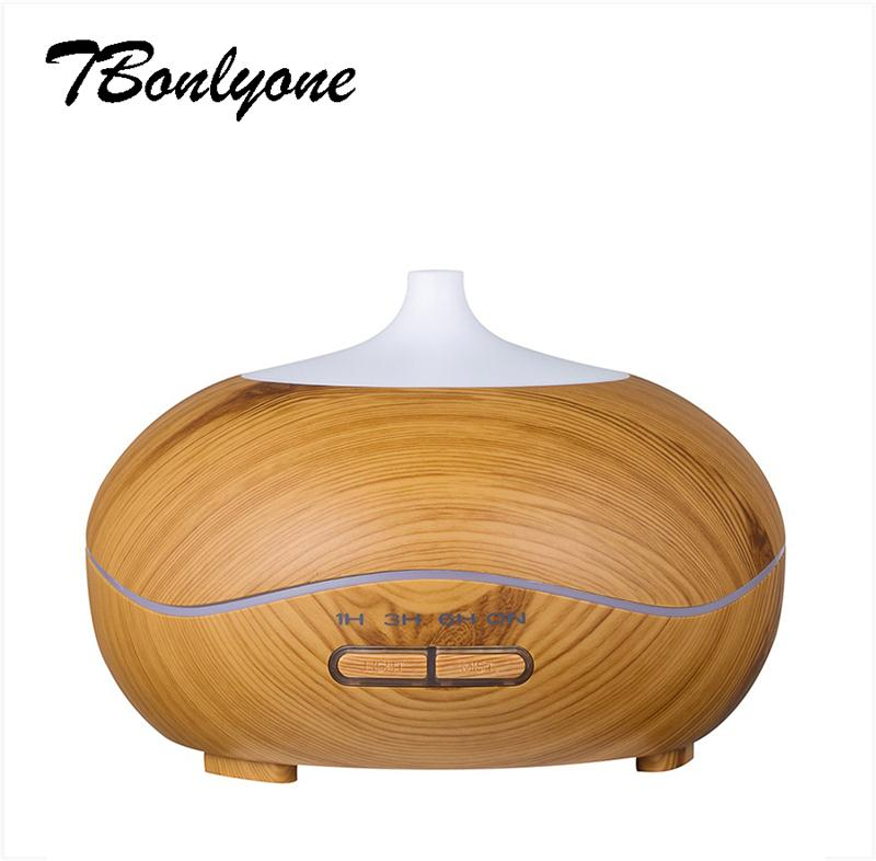 TBonlyone 300ML Wood Grain Ultrasonic Aromatherapy Air Humidifier Essential Oil Aroma Lamp Electric Aroma Diffuser for Home Spa<br>