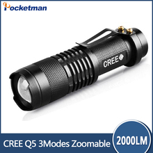Promotion Ultra Bright led flashlight 2000 Lumen Zoomable CREE LED 14500 Flashlight Focus Torch Zoom Lamp Light
