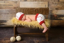 free shipping, handmade Crochet  football Modelling Hat & shorts baby sets Photo props For newborn 100% cotton