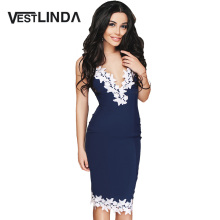 VESTLINDA Summer Elegant Lace Crochet Dress Women Sexy Spaghetti Strap V Neck Party Bodycon Dresses Midi Slim Dress Robe Femme