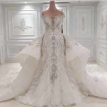 2017 Ruched Sparkling Rhinstone Lace Beaded Wedding Dresses with Overskirts Lace Bridal Gowns Wedding Robe De Mariage Casamento