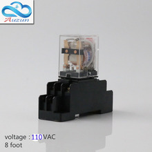 10 pieces hh52P small AC110V relay with intermediate relay lamp base current is 5 a silver contact eight feet(China)