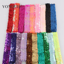 21Colors New 2017 Beautiful Glitter Sequins Headbands girls kids Hair Accessories Elastic Hair Band Sports Headwear 100pcs/lot(China)