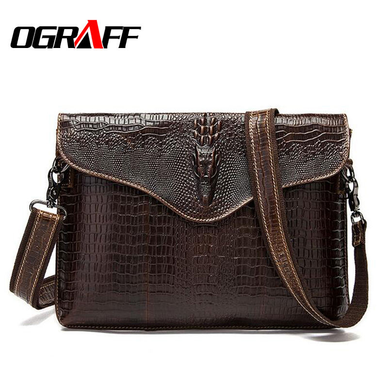 OGRAFF Genuine leather bag mens shoulder bag casual briefcase luxury designer men messenger bags Crocodile pattern shoulder bag<br>
