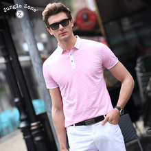 JUNGLE ZONE Solid color Striped Polo Shirt Fashion Men 2017 Top Quality Summer Short Sleeve Polo's Men's Brand POLO  8208