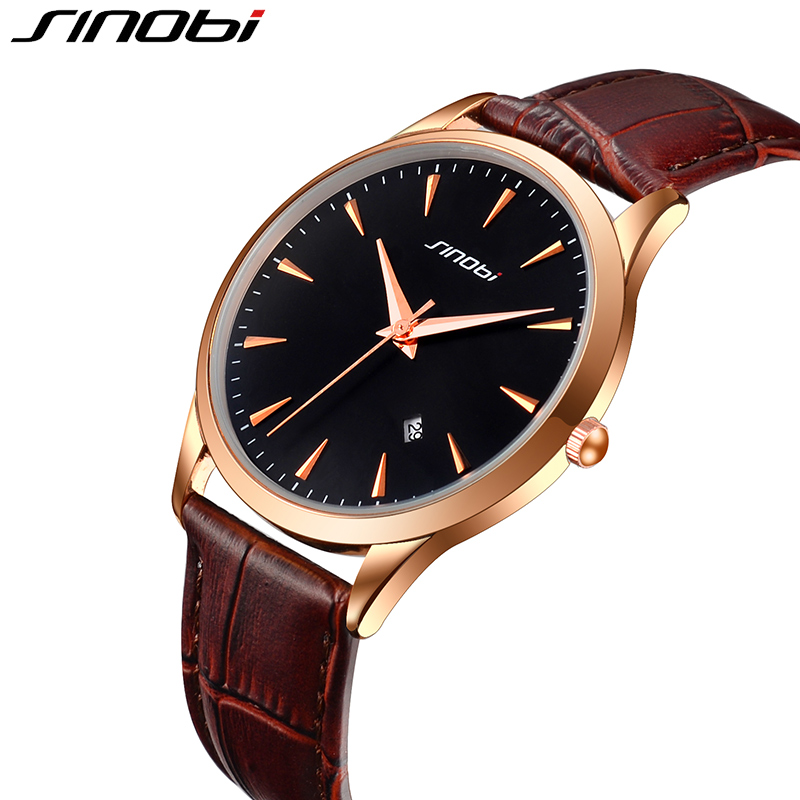 SINOBI Black Wrist Watches for Men Calendar Watch Genuine Leather Band Mens Quartz Watch Male Wristwatch Erkek Kol Saati 2017<br>