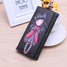 Woman Girl Cute Lovely Cartoon Girl Printed Pattern Women's Long Mini Wallet Purse Lady Large Capacity PU Leather Hasp
