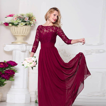 Elegant Long Bridesmaid dresses Three quarter sleeve A line chiffon Lace Women Wedding Party gowns Cheap Maid of honor dress hu