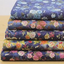 Width 1.4m*length 1m,Roses printed denim fabric clothes pants elasticity fabric DIY Dress 181