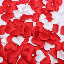 100pcs 3.2cm DIY Heart petals wedding decorations Satin Heart Shaped Fabric Artificial flower petals wedding decor supplies(China)
