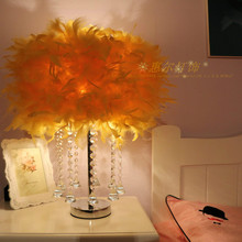 decoration simple small rystal feather lamp bedroom table lamp Birthday wedding