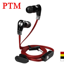 PTM JM02 3.5mm In ear Stereo Earphone Flat Wire Hifi Earbuds Bass Headset with microphone for Samsung iPhone Phone MP3