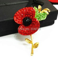 DHL Free Shipping Sparkle Red Crystal Poppy Flower Brooch ROYAL BRITISH LEGION Remembrance Day Flower Brooch Cheap Top Quality(China)