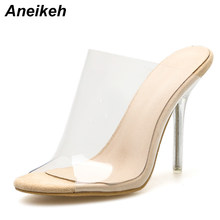 Aneikeh 2018 PVC Jelly Sandals Open Toe High Heels Women Transparent  Perspex Slippers Shoes Heel Clear Sandals Apricot Size 42 503db94ad8c3