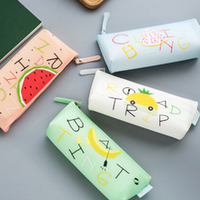 Cute Silicone For School Pencil Case Kawaii Creative Fruit Pencil Case Boys Girls Large Zipper Storage Bag QW992170(China)