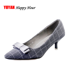 New 2017 Elegant Bowknot Flock High Heels Women Low heels Office Ladies Brand Shoes Fashion Women's Pumps 3cm Thin Heels ZH1715(China)