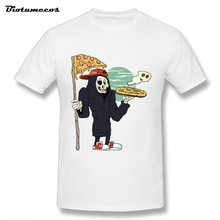 Plus Size Men T-shirt 2017 Skull Death Hold Up Pizza Printed Short Sleeve O-neck 100% Cotton Tees Shirt camisa masculina MTK119