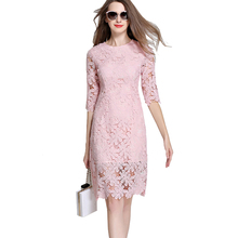 2017 Pink Lace Dresses Ukraine Woman Hollow Out Half Sleeve Flower Short Crochet Dress Bodycon Party Dresses Vestido De Renda