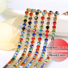 Wedding Rhinestones Crystals SS12 10 Yards Gold Base rhinestone chain Mix Colors DIY Sewing On rhinestones chain diy decoration(China)