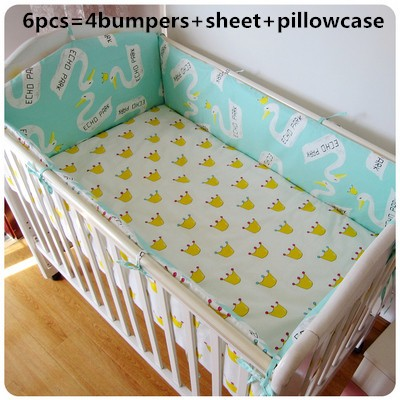 Promotion! 6PCS crib bedding set piece 100% cotton Embroidery baby bed around cartoon baby bedding  (bumpers+sheet+pillow cover)<br><br>Aliexpress