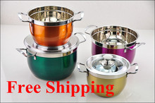 Free shipping Hot Selling Colorful 8PC Of Color Coating Stainless Steel Cookware Set With Capsule Bottom Soup pot set