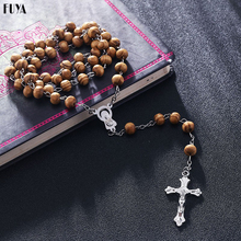 High Quality Fashion Rosary Wood Beads DIY Necklaces For Men Women Virgin Mary Jesus Christ Cross Pendant Long Chain Jewelry(China)