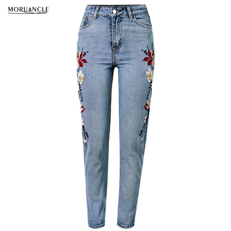 MORUANCLE 2017 New Womens Floral Embroidered Jeans Pants High Waisted Denim Joggers For Femel Ankle Length Plus Size S-XXXLÎäåæäà è àêñåññóàðû<br><br>