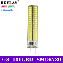 Factory price Dimmable G8 LED Bulb SMD 5730 mini G8 LED lamp 110V/220V 136LEDs Chandelier lampada Replace Halogen lights CE Rohs(China)