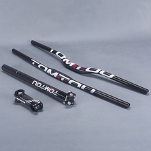 TomTou Ultralight Full Carbon Fibre Cycling MTB Parts Bicycle Handlebar Set Handlebars + Seatpost + Stem Glossy White - TS3T59