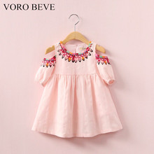 VORO BEVE  2017 New Fashion Children Hollow Dress Clothes Baby Girl Cotton Printed Princess Dresses Kids Casual Dress Clothing