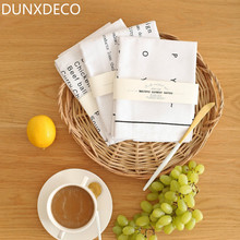 DUNXDECO 1PC 38.5x58.5CM Modern White Black Kitchen Words Print Cotton Table Placemat Home Store Table Deco Napkin Photo Prop