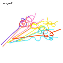 10pcs/set Colorful Straw Crazy Curly Loop Coloured Plastic Drinking Straws for Birthday Party Bar