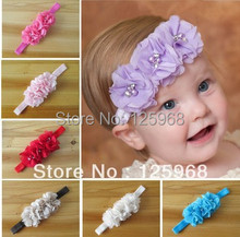 Free Shipping!30pcs/lot New Three Flowers Design Baby Head bands,Girls Elastic Headband,Children Hair Accessories(China)