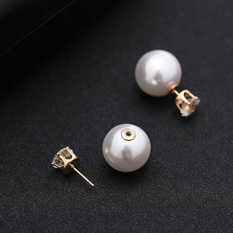 TDQUEEN Simulated Pearl Jewelry Sets Gold Color Big Round Pearl Wedding Necklace and Earrings Sets Party Accessories for Women (9)