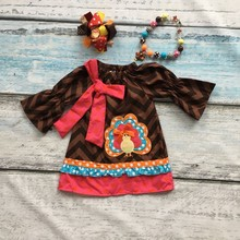 baby girls thanksgiving dress baby kids chevron dress children turkey dress baby girls boutiques dress with accessories(China)