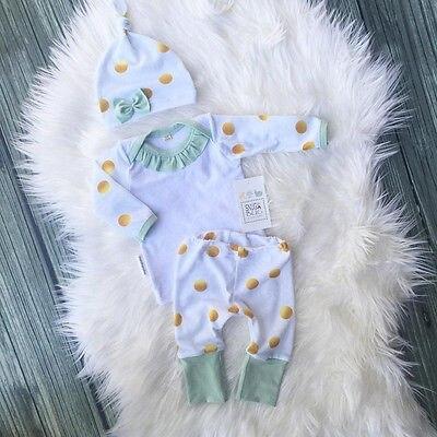 2016 Autumn 3PCS Newborn Baby Boy Girl Long Sleeve Top T-shirt+Polka Dot Pants Leggings Outfits and hats<br><br>Aliexpress
