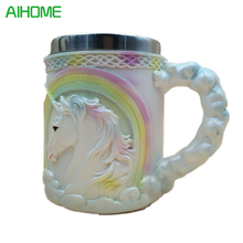 Stainless Steel Inner Layer + Silicone Outer Layer Mug Wine Goblet Unicorn Pattern Coffee Tea Mug Cup Bar(China)