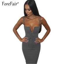 Buy Forefair Sexy Sheath Strap Dress 2017 Summer Clubwear Party Dresses Women Lace-up V Neck Bow Slim Bodycon Dress for $11.15 in AliExpress store